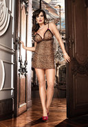 Two Piece Chemise Set Leopard - Q (disc)