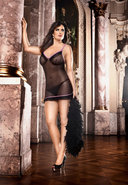 Ruffle Mesh Nightie Black/pnk - Q (disc)
