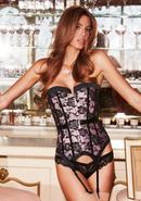 Satin And Lace Corset Pnk/blk S