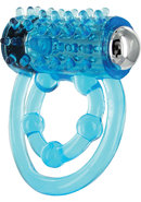 Trinity Vibes Vibrating Double Cock Ring Waterproof Blue