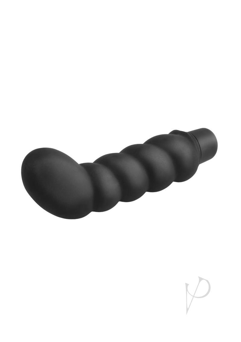 Anal Fantasy Collection Ribbed P-spot Silicone Vibe Waterproof 4 Inch Black